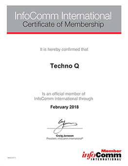 TechnoQ certificate of membership in InfoComm