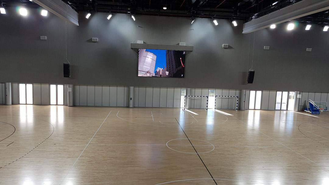 Audio Visual and Lighting Solution for Qatar University basketball court